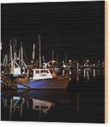 Moon Over Marina 1 - Sheepshead Bay Brooklyn New York Wood Print