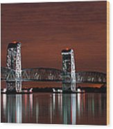 Moon Over Marine Parkway Bridge - Gil Hodges Memorial Bridge Wood Print by Gary Heller