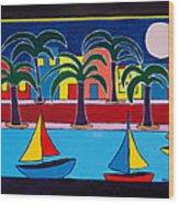 Moon Over Miami Wood Print by Marlene MALKA Harris