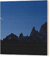 Moon Over Mount Fitz Roy Wood Print