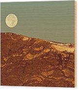 Moon Over Mount Ida Wood Print