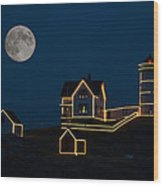Moon Over Nubble Light Wood Print
