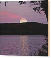 Moon Over Parks Pond Wood Print