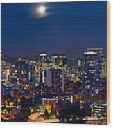 Moon Over Portland Oregon City Skyline At Blue Hour Wood Print