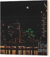 Moon Over San Diego Wood Print