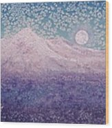 Moon Over Snowy Peaks Wood Print