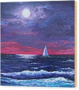 Moon Over Sunset Harbor Wood Print by Amy Scholten