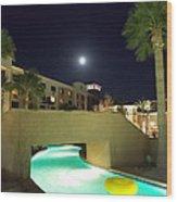 Moon Over The Casino Wood Print