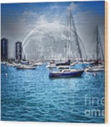 Moon Over The City Harbor Wood Print