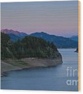 Moon Over The Palisades Wood Print