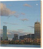 Moon Over The Prudential In Boston Wood Print