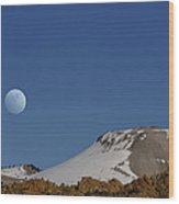 Moon Over The Sierras Wood Print