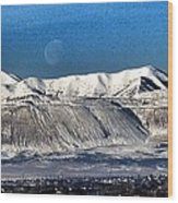 Moon Over The Snow Covered Mountains Wood Print