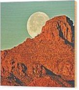 Moon Over Tucson Mountains Wood Print