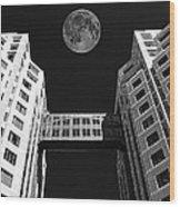 Moon Over Twin Towers Wood Print