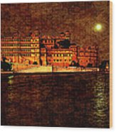 Moon Over Udaipur Painted Version Wood Print