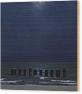 Moon Over Waters Wood Print by Margie Hurwich