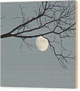 Moon Peaking Thru At 5pm Wood Print