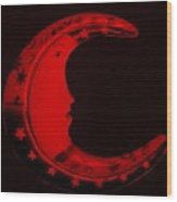 Moon Phase In Blood Red Wood Print
