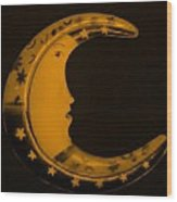 Moon Phase In Orange Wood Print