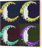 Moon Phase In Pf Quad Colors Wood Print