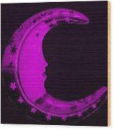 Moon Phase In Purple Wood Print