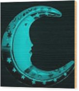 Moon Phase In Turquois Wood Print