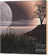 Moon Rise On Another World Wood Print