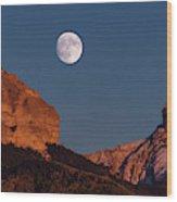 Moon Rise Over Cimarron Mountain Range Wood Print