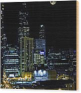 Moon Rise Over Downtown Chicago And The Willis Tower #2 Wood Print