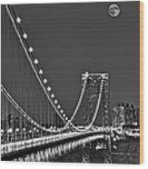 Moon Rise Over The George Washington Bridge Bw Wood Print