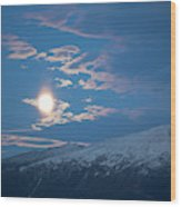 Moon Rise Over The Presidential Range Wood Print