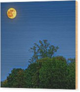 Moon Rising At The Lake House 05/24/13 Oakland County Mi Wood Print
