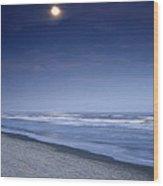 Moon Rising Over Hilton Head Wood Print