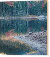 Moon Setting Fall Foliage Reflection Wood Print