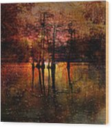 Moon Setting Over Reelfoot Lake Wood Print by J Larry Walker