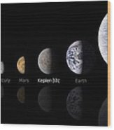 Moon Size Line Up Wood Print