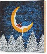 Moon Sledding Wood Print