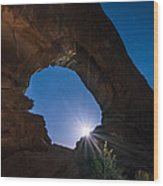 Moon Through Arches Windows Wood Print