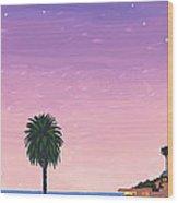 Moonlight Beach At Dusk Wood Print
