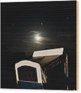 Moonlight Camper Wood Print