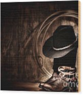 Moonlight Cowboy Wood Print by Olivier Le Queinec