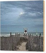 Moonlight Drama On The Beach Wood Print