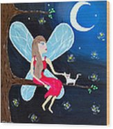 Moonlight Fairy And Fireflies Wood Print