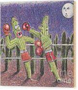Moonlight Fight Wood Print