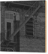 Moonlight Fire Escape Usa Near Infrared Wood Print