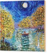 Moonlight Fishing Wood Print