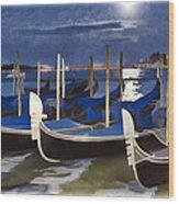 Moonlight Gondolas - Venice Wood Print