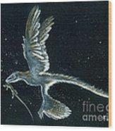 Moonlight hunt - Microraptor Wood Print