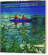 Moonlight Kayak Ride Along The Coastline Of The Lachine Canal Quebec Sea Scenes Carole Spandau Wood Print